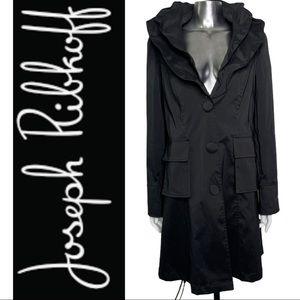 Joseph Ribkoff Black Trench Coat Ruffle Collar 12